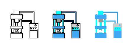 hydraulic press machine icon set isolated on white background for web design