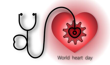 World heart day with heart and stethoscope and gear on red background of paper art style ,vector or illustration with health love concept