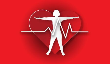 World heart day with heart and pulse and body on red background of paper art style ,vector or illustration with health love concept