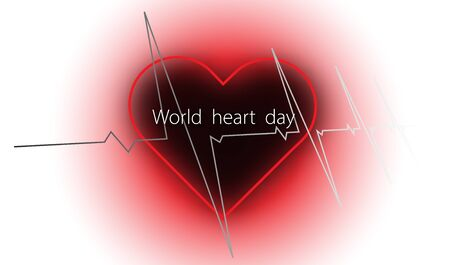 World heart day with heart and pulse on white background ,vector or illustration with health love concept