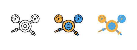 Druckregler-Manometer-Icon-Set isoliert auf weißem Hintergrund für Webdesign