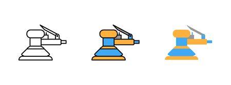 pneumatic sander icon set isolated on white background for web design Illustration