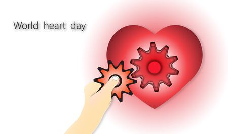 World heart day with heart and hand holding gear on red background of paper art style ,vector or illustration with health love concept