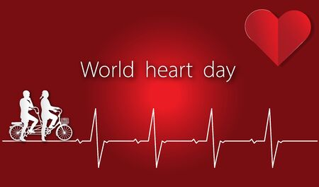 World heart day with heart and pulse and cyclist on red background of paper art style ,vector or illustration with health love concept