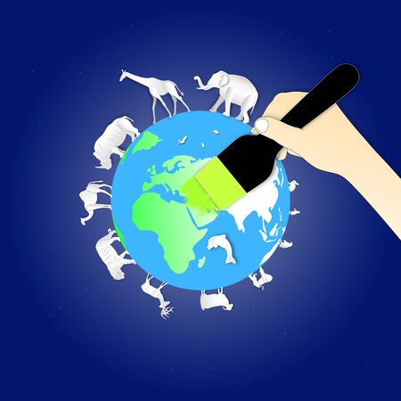 World environment or wildlife day with animal in nature of paper art style ,vector or illustration with love the earth concept 向量圖像