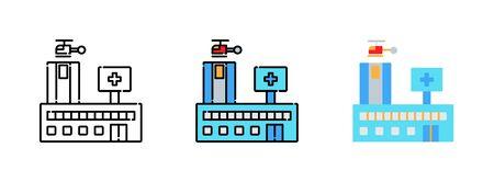 hospital icon set isolated on white background for web design