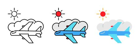 airliner with cloud and sun icon set isolated on white background for web design ,travel concept Illusztráció