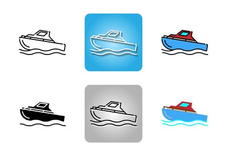 Speed boat icon set isolated on white background for web design