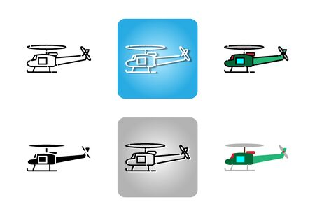 helicopter  icon set isolated on white background for web design