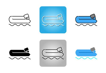inflatable rubber boat  icon set isolated on white background for web design Çizim