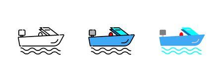 Speed boat icon set isolated on white background. Çizim