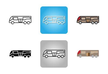 Bus icon set isolated on white background for web design