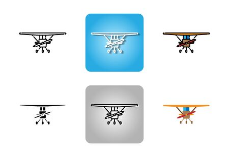 Small aircraft with propeller icon set isolated on white background for web design Vektorové ilustrace