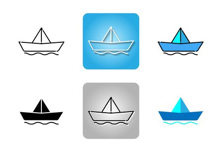 Paper boat icon set isolated on white background for web design