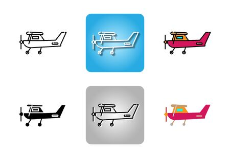 Small aircraft with propeller icon set isolated on white background for web design Иллюстрация