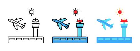 airport and control tower icon set isolated on white background for web design ,travel concept