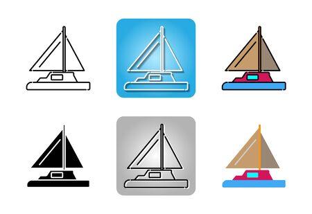 Yacht icon set isolated on white background for web design