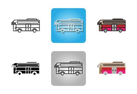 Bus icon set isolated on white background for web design  Illusztráció
