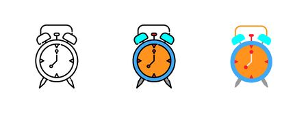 Alarm clock icon set isolated on white background for web design ,travel concept