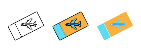 Plane ticket icon set isolated on white background for web design ,travel concept Illusztráció