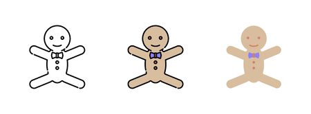 Gingerbread man cookie icon set  isolated on white background for web design