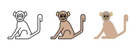 monkey icon set isolated on white background for web design