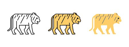 tiger icon set isolated on white background for web design