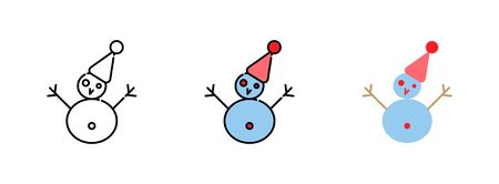 Snowman icon set  isolated on white background for web design