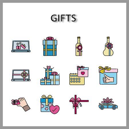 Gift box icon set isolated on white background for web design