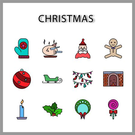 Christmas icon set  isolated on white background for web design