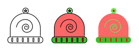 Winter hat icon set isolated on white background for web design