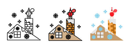 Chimney and Santa Claus on roof icon set  isolated on white background for web design