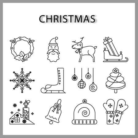 Christmas icon set  isolated on white background for web design