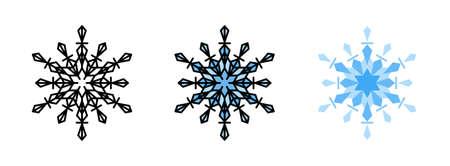 Snowflake icon set  isolated on white background for web design