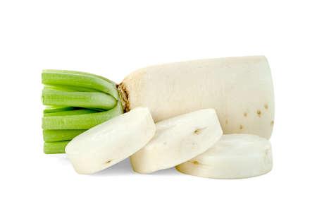 sliced Radish isolated on white background.