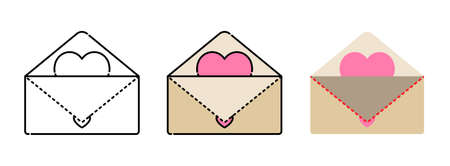 Heart envelope icon set isolated on white background for web design,Valentine day concept