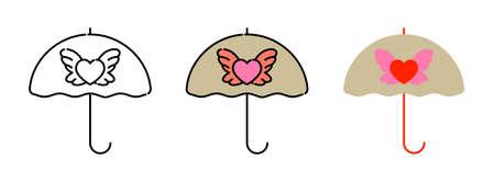 Heart umbrella icon set isolated on white background for web design,Valentine day concept