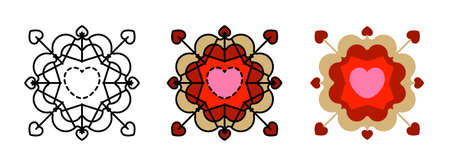 heart mandala icon set isolated on white background for web design,Valentine day concept