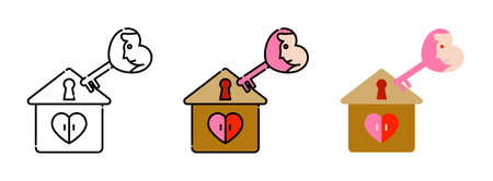 home with key heart-shaped icon set isolated on white background for web design,Valentine day concept