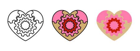 heart mandala icon set isolated on white background for web design,Valentine day concept Ilustracje wektorowe
