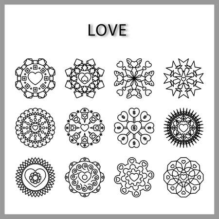 heart mandala icon set isolated on white background for web design,Valentine day concept