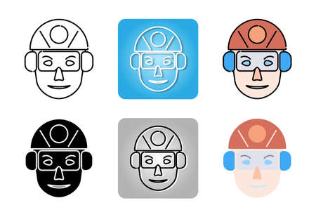 Hearing Protection and safety-glasses and Safety Helmet icon set isolated on white background for web design