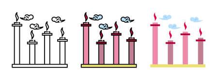 factory smokestack  icon set isolated on white background for web design