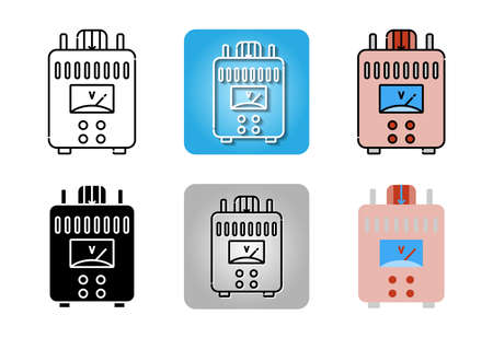 Power supply icon set isolated on white background for web design
