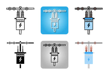High voltage electrical transformer icon set isolated on white background for web design