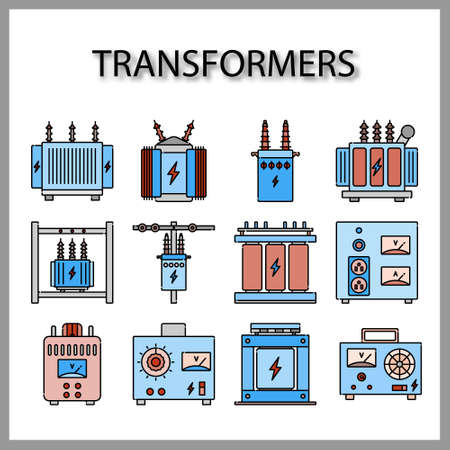 High voltage electrical transformer and Power supply icon set isolated on white background for web design Vector Illustration