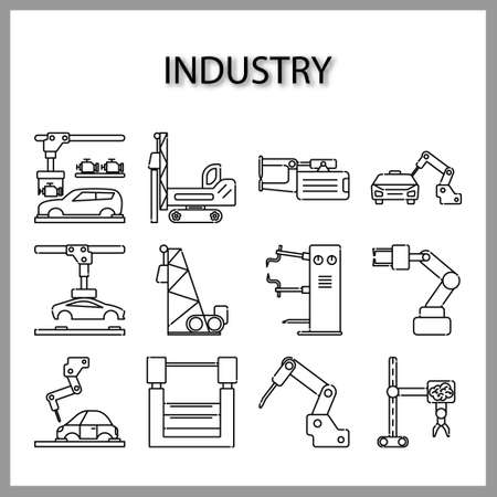 industry machine icon isolated on white background for web design