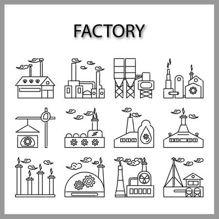 Industrial building factory icon set isolated on white background for web design