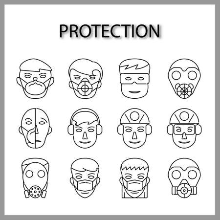 protective mask icon set isolated on white background for web design Ilustracja