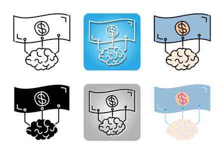 Business Strategy with analytics brain icon set isolated on white background for web design